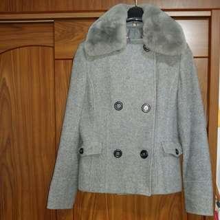🚚 Chica毛領雙排釦短大衣40號