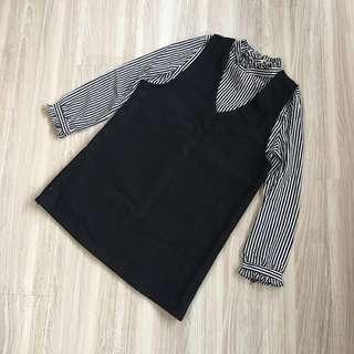 全新❤️韓貨刷絨挺版假兩件襯衫背心洋