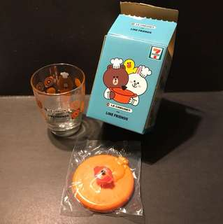 7-11 LE CREUSET line friends 玻璃杯連蓋