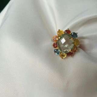 😍大粒超閃彩寶彩色藍寶 綠紫晶銀 925 戒指