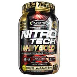 Muscletech, Nitro Tech, 100% Whey Gold, French Vanilla Creme, 2.20 lbs (999 g)