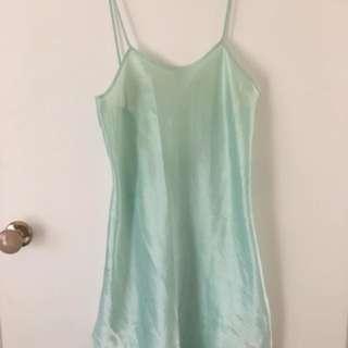 Silk green slip dress