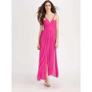 BCBGMAXAZRIA Fuchsia Silk Dress Gown