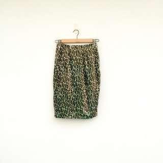 二手 變色綠 豹紋 彈性 高腰 長裙