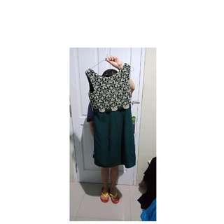 Dress hijau semi brokat