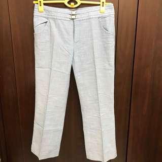 窄管7分褲水藍色