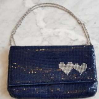 Blue Shimmer Soft Clutch with Two Hearts