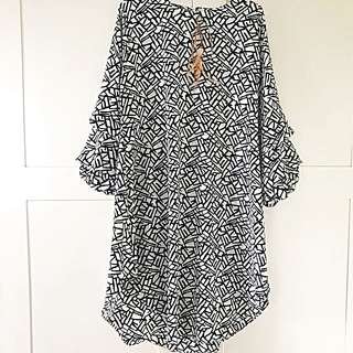 Tunik blouse black white