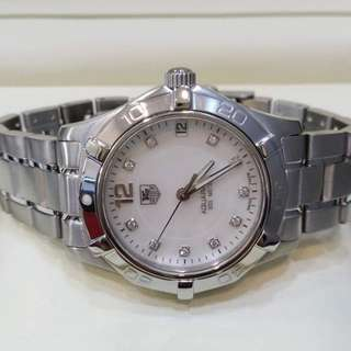 whatsapp 016-3214003 or call 03-79320699 12noon to 7pm  USED TAG HEUER AQUARACER DIAMONDS SERIES 34MM - REF: WAF1312 QUARTZ  - Watch only