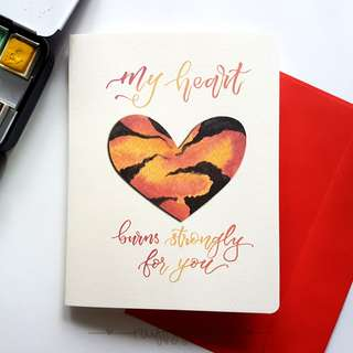 Valentines Day: Burning Heart Card