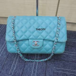 AUTHENTIC CHANEL CLASSIC LAMBSKIN DOUBLE FLAP JUMBO IN TURQUOISE / TIFFANY BLUE