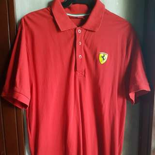 FERRARI MEN'S COLLARED POLO SHIRT, RED-LARGE
