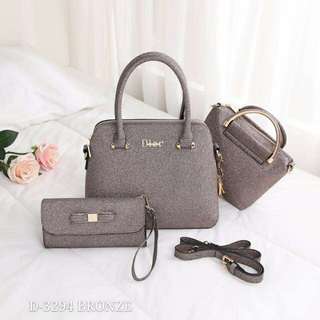Dior Handbag 3 in 1 Bronze Color
