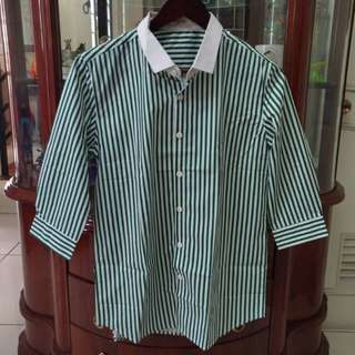Men's Green Striped 3/4 Sleeves Polo Shirt