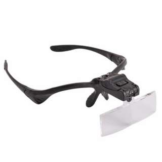 LED Light Head Magnifier Headband Glasses Clip Magnifier Magnifying Glass Jewelry Watch Repair Magnifier Lens 5 Dental Loupes
