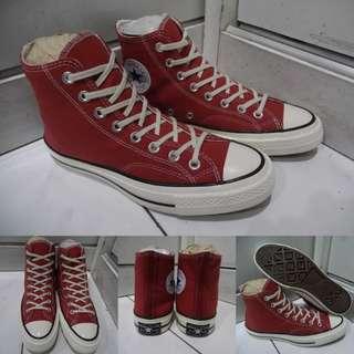 Sepatu Kets Converse Allstar 70s Seventies High Classics Canvas Light Maroon Marun