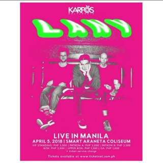 GEN AD TICKET FOR LANY LIVE IN MANILA DAY 2