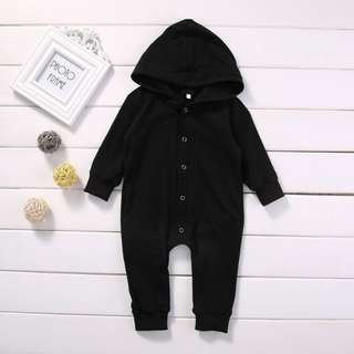 New Button Hooded Romper