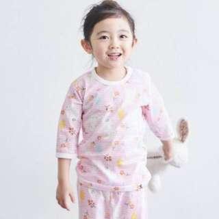 兔子粉紅7分袖兒童睡衣套裝家居服(韓國購入)