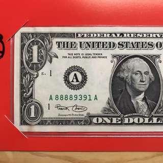 吉利錢 美金$1元紙幣  A88889391A US One Dollar note
