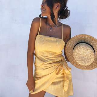 〰️ dollygirlfashion - yellow tie dress