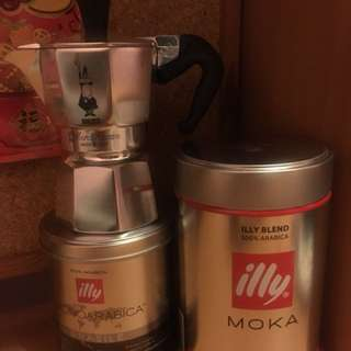 Bialetti moka express coffee maker and illy ground coffee
