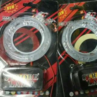 Lampu led tambhan ring fog lamp model tempel nyala biru