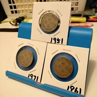 1951,61,71 old fifty cents hong kong coins