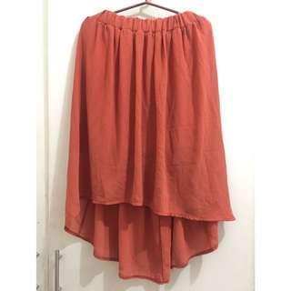 Rust Orange High-Low Skirt