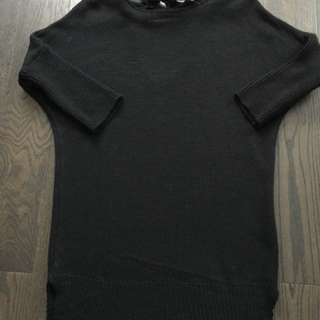 Black knit tunic sweater dress top S with back bow detail