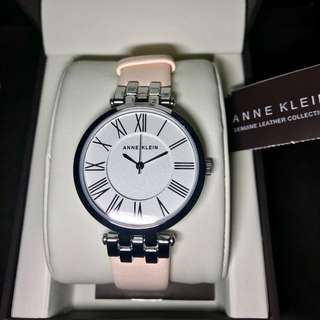 Anne Klein Silver-tone and Pink Leather Strap Watch