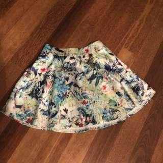 High waisted mini A line skirt