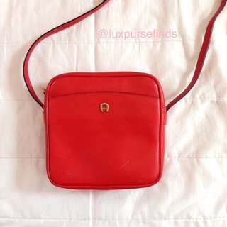 AIGNER Red Leather Square Crossbody Bag