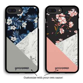 Floral x Marble Phone Case