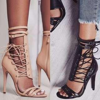 🔝歐美羅馬綁帶高跟鞋