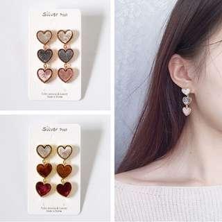 新款上市🎊現貨韓國小愛心絲絨耳環