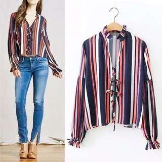 Stripes Long Sleeves polo bloue