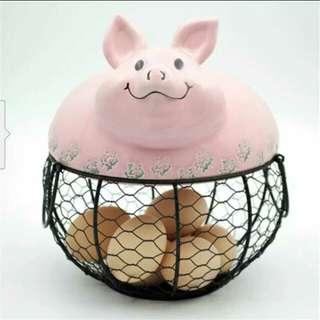 Lovely Ceramic Pig Wire Mesh Eggs Basket/Holder