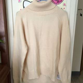 米白色下小開岔高領針織毛衣