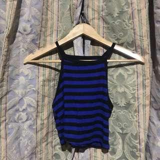 Blue Halter Top with Black Stripes