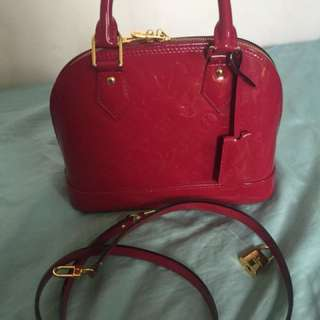 Authentic Louis Vuitton alma bb bag with strap india rose