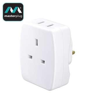 英國 masterplug AUSBW2-MPA 英規13A插座連2位2.1A輸出USB充電插座 實店經營 香港行貨 保用一年 兩個$250