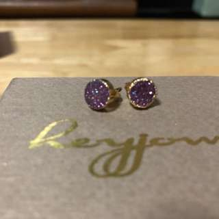 Druzy Stud Earrings in Amethyst