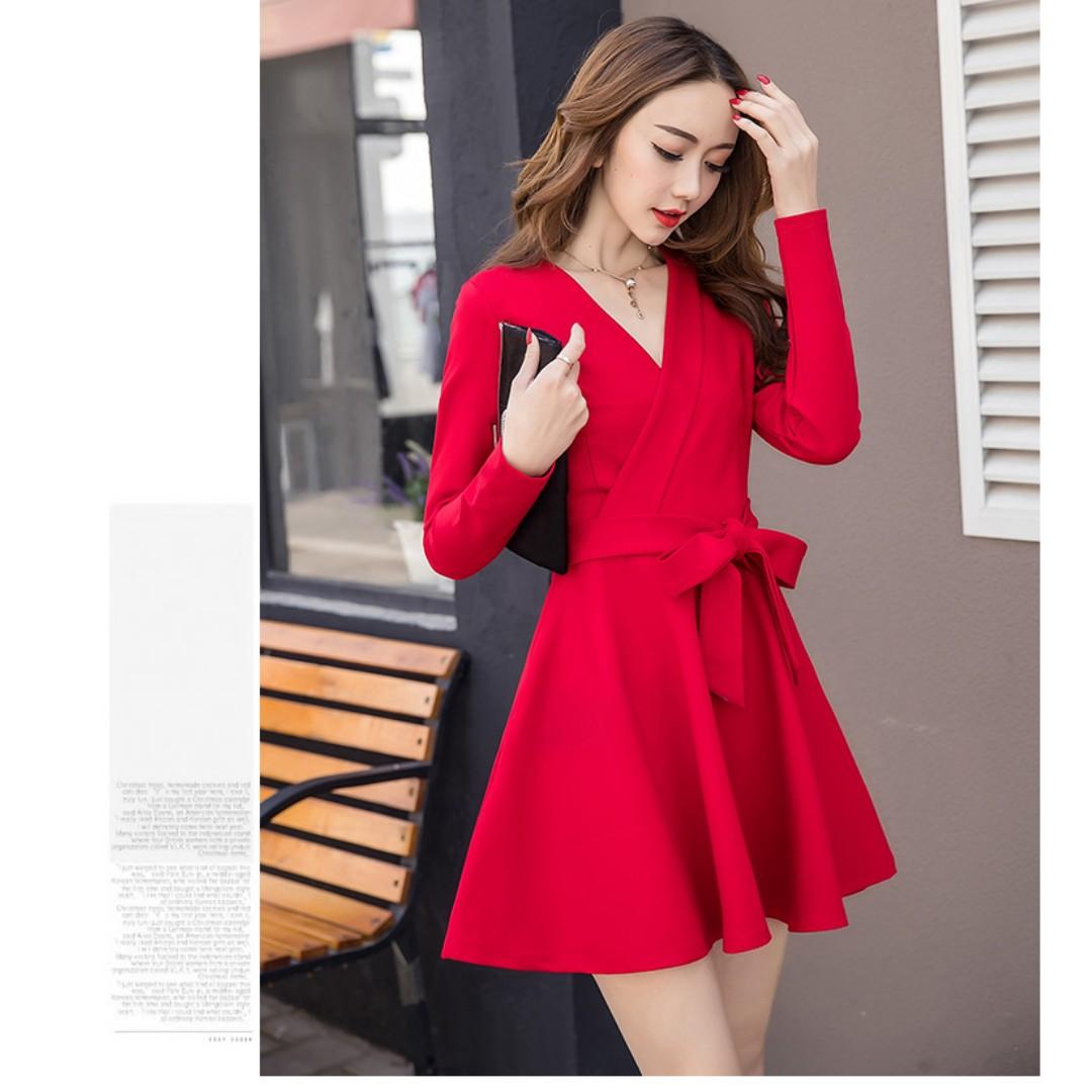 2018 Springtime Women Dress In Korean Fashion Style V Neck Collar