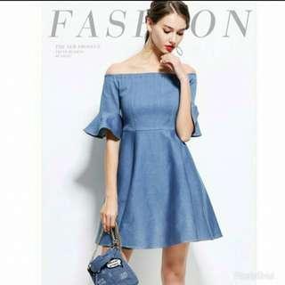 Denim Off Shoulder Ruffle Sleeve Dress