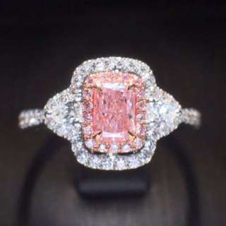 超罕有天然粉紅鑽石GIA證書18k白金戒指💎情人節禮物求婚戒指