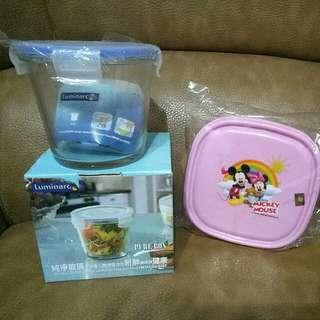🎀限時免運店到店🎀《全新合售》美樂雅玻璃保鮮盒&《全新》米奇米妮迪士尼保鮮盒