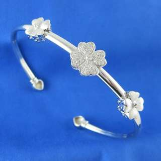 KALVION 925 純銀鑽石手鐲 - 四葉草