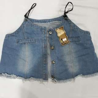 Brand New: Cropped Denim Vest from Taiwan