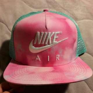 Nike專櫃正品粉紅x湖水藍渲染版帽